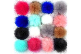 (Multicolor) - Coopay 16 Pieces Faux Fur Pom Pom Ball DIY Fur Pom Poms for Hats Shoes Scarves Bag Pompoms Keychain Charms Knitting Hat Accessories (Multicolor)