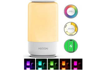(Rechargeable and Cordless, White) - Cordless Table Lamps for Bedrooms, HUGOAI Rechargeable Lamps for Bedroom, Dimmable Bedside Lamp Battery Operated, Night Lights with Shades of White Lights and Vibrant RGB Colours, White
