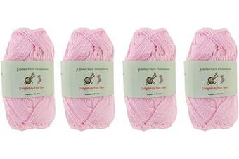 (4 Skeins, Col 01 Pink Dust) - Lace Weight Tencel Yarn - Delightfully Fine - 60% Bamboo 40% Tencel Yarn - 4 Skeins - Col 01 Pink Dust