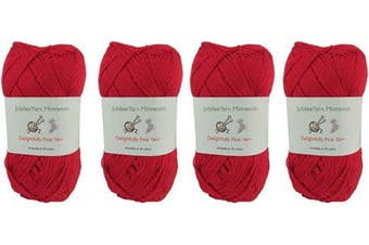 (4 Skeins, Col 13 Red Wine) - Lace Weight Tencel Yarn - Delightfully Fine - 60% Bamboo 40% Tencel Yarn - 4 Skeins - Col 13 Red Wine