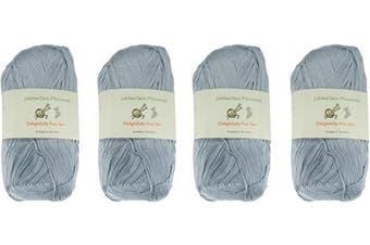 (4 Skeins, Col 3004 Faded Glacier Blue) - Lace Weight Tencel Yarn - Delightfully Fine - 60% Bamboo 40% Tencel Yarn - 4 Skeins - Col 3004 Faded Glacier Blue