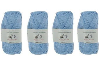 (4 Skeins, Col 07 Blue Sky) - Lace Weight Tencel Yarn - Delightfully Fine - 60% Bamboo 40% Tencel Yarn - 4 Skeins - Col 07 Blue Sky
