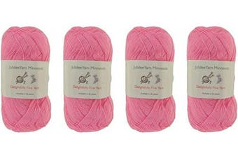 (4 Skeins, Col 02 Shy Blush) - Lace Weight Tencel Yarn - Delightfully Fine - 60% Bamboo 40% Tencel Yarn - 4 Skeins - Col 02 Shy Blush