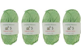 (4 Skeins, Col 06 Green Hill) - Lace Weight Tencel Yarn - Delightfully Fine - 60% Bamboo 40% Tencel Yarn - 4 Skeins - Col 06 Green Hill