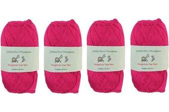 (4 Skeins, Col 17 Magenta) - Lace Weight Tencel Yarn - Delightfully Fine - 60% Bamboo 40% Tencel Yarn - 4 Skeins - Col 17 Magenta