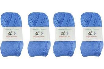 (4 Skeins, Col 3208 Dynasty Blue) - Lace Weight Tencel Yarn - Delightfully Fine - 60% Bamboo 40% Tencel Yarn - 4 Skeins - Col 3208 Dynasty Blue