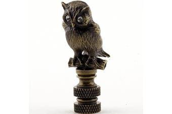 Antique Brass Owl Finial Bird Lamp Shade Topper Lampshade Screw Glass Eyes