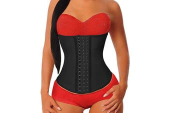 (Small, Black) - YIANNA Women's Underbust Latex Sport Girdle Waist Trainer Corsets Hourglass Body Shaper