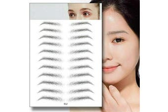 (E12) - Aaiffey 4D Hair-like Authentic Eyebrows, Imitation Ecological Lazy Natural Tattoo Eyebrow Stickers Waterproof for Woman & Man Makeup Tool 10 Pcs