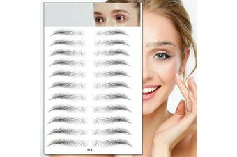 (E13) - Aaiffey 4D Hair-like Authentic Eyebrows, Imitation Ecological Lazy Natural Tattoo Eyebrow Stickers Waterproof for Woman & Man Makeup Tool 10 Pcs