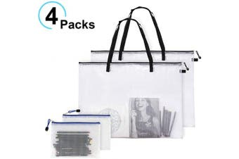 Apipi 4 Pcs Art Portfolio Bags-2pcs Waterproof Art Supply Storage Bag with Zipper and Handle Mesh PVC Organiser Pocket and 2pcs Pencil Bags for Artworks Large Posters Painting Materials (48cm x 60cm )
