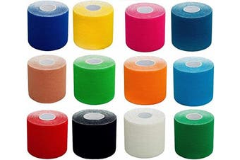 (2,5cm - width (3x roll), 3x petrol) - #DoYourFitness® x World Fitness WFX 1x Kinesiology Tape [5m x 5cm LxW] - Waterproof Muscle Support, Physio Therapeutic Aid, Made of 100% Cotton - Skin-Friendly - in Different Sizes and Colours