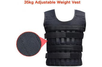 Elikliv 35kg Adjustable Weighted Workout Body Weight Vest Fitness Training Waistcoat Gym Adjustable Size, Fit for People: Height 175cm-185cm or Weight 75kg-125kg.