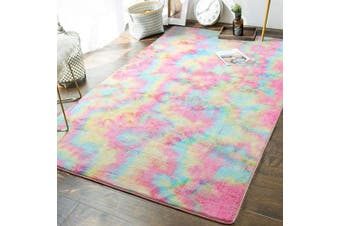 (1.5m x 2.4m) - Soft Girls Room Rugs - 1.5m x 2.4m Fluffy Rainbow Area Rug for Kids Baby Room Bedroom Nursery Home Decor Large Floor Carpet by AND BEYOND INC, Multi