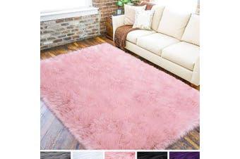 (1.2m x 1.8m, Pink) - LOCHAS Ultra Soft Fluffy Rugs Faux Fur Sheepskin Area Rug for Bedroom Bedside Living Room Carpet Nursery Washable Floor Mat, 1.2m x 1.8m Pink