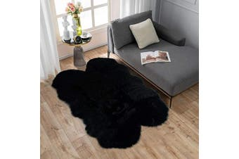 (0.9m x 1.5m Sheepskin, Black) - Carvapet Soft Fluffy Faux Sheepskin Fur Area Rug for Bedroom Floor Sofa Living Room 0.9m x 1.5m,Black