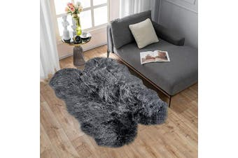 (0.9m x 1.5m Sheepskin, White/Black) - Carvapet Soft Fluffy Faux Sheepskin Fur Area Rug for Bedroom Floor Sofa Living Room 0.9m x 1.5m,Black with White Tips