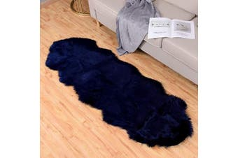 (0.6m x 1.8m Sheepskin, Navy Blue) - Carvapet Luxury Soft Faux Sheepskin Couch Seat Cushion Fake Fur Area Rugs for Bedroom and Living Room Runner, 0.6m x 1.8m, Navy Blue