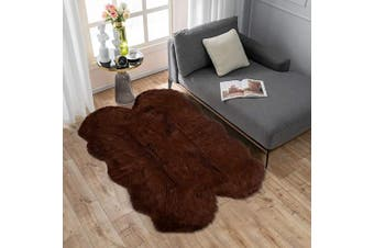 (0.9m x 1.5m Sheepskin, Brown) - Carvapet Soft Fluffy Faux Sheepskin Fur Area Rug for Bedroom Floor Sofa Living Room 0.9m x 1.5m,Brown