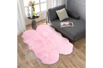 (0.9m x 1.5m Sheepskin, Pink) - Carvapet Soft Fluffy Faux Sheepskin Fur Area Rug for Bedroom Floor Sofa Living Room 0.9m x 1.5m,Pink