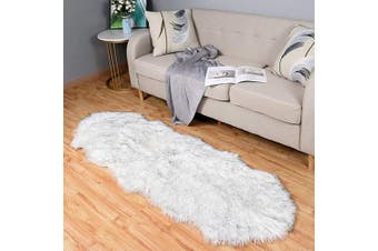 (0.6m x 1.8m Sheepskin, Black/White) - Carvapet Luxury Soft Faux Sheepskin Couch Seat Cushion Fake Fur Area Rugs for Bedroom and Living Room Runner, 0.6m x 1.8m, Black/White