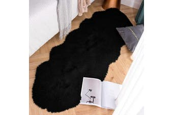 (0.6m x 1.8m Sheepskin, Black) - Carvapet Luxury Soft Faux Sheepskin Couch Seat Cushion Fake Fur Area Rugs for Bedroom and Living Room Runner, 0.6m x 1.8m, Black