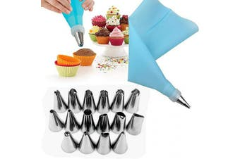 (Blue) - Alexi 18Pcs/Set Cake Making Tools EVA Frosting Tool Set Nuzzles/Pastry Bags Decorating Tools