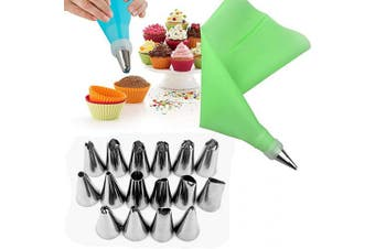 (Green) - Alexi 18Pcs/Set Cake Making Tools EVA Frosting Tool Set Nuzzles/Pastry Bags Decorating Tools