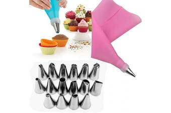 (Pink) - Alexi 18Pcs/Set Cake Making Tools EVA Frosting Tool Set Nuzzles/Pastry Bags Decorating Tools