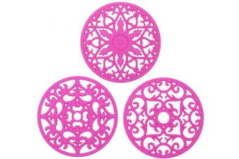 (Red) - 3 Set Silicone Hot Pads, Multi-Use Intricately Flexible Durable Non Slip Coasters Table Mats,Carved Pot Holders, Trivets mat, Jar Opener (Fuchsia)