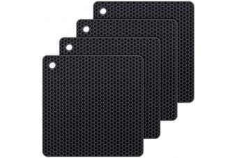 (Black) - Silicone Hot Pads,Non Slip, Flexible, Durable Multi-Use Pot Holders, Trivets mat, Jar Opener, Spoon Rests,Garlic Peeler- Dishwasher Safe –Set of 4 (Black)