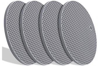 (light grey) - Silicone Hot Pads,Non Slip, Flexible, Durable Multi-Use Pot Holders, Trivets mat, Jar Opener, Spoon Rests,Garlic Peeler- Dishwasher Safe –Set of 4 -Grey(Round))