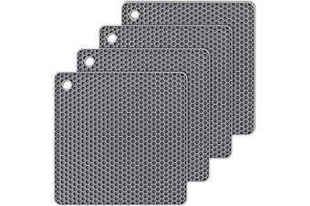 (Gray) - Silicone Hot Pads,Non Slip, Flexible, Durable Multi-Use Pot Holders, Trivets mat, Jar Opener, Spoon Rests,Garlic Peeler- Dishwasher Safe- Set of 4 (Grey)