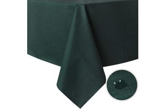 (140cm  x 270cm , Dark Green) - sancua 100% Waterproof Rectangle PVC Tablecloth - 140cm x 270cm - Oil Proof Spill Proof Vinyl Table Cloth, Wipe Clean Table Cover for Dining Table, Buffet Parties and Camping, Dark Green