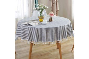 Cotton Linen Tassel Tablecloth Round Table Cloth for Kitchen Dining Tabletop Decoration - 150cm