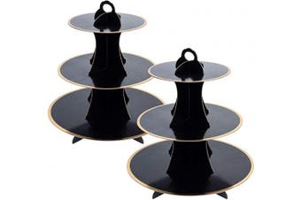 (2, Black) - 3-Tier Cardboard Cupcake Stand/Tower (2, Black)