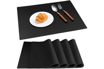 (Black Place Mats) - IVYOUNG Large Reusable Silicone Placemats for Dining Kitchen Table Heat-Resistant Baking Mat Countertop Protector, Non-Slip Flexible Washable Dining Mats(Set of 4,Black)