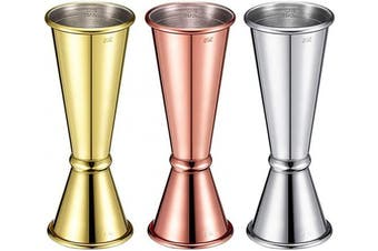 3 Pieces Double Cocktail Jigger Stainless Steel Cocktail Jigger Dual Drink Measure Cup Bar Measuring Jigger (1 and 60ml)
