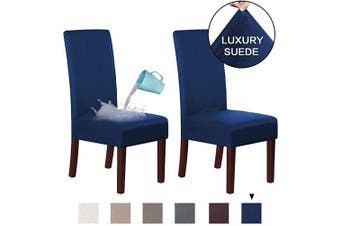 (2, Navy) - H.VERSAILTEX Suede Dining Room Chair Covers Dining Chair Slipcover Parsons Chair Slipcover Velvet Chair Covers for Dining Room Set of 2, Soft Stretch Removable High Back Chair Protector, Navy