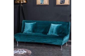 (Small Cover(120cm  - 150cm ), Royal Blue) - CHITONE Plush Sofa Bed Cover,Solid Colour Folding Armless Futon Cover Slipcover Small Size,Royal Blue