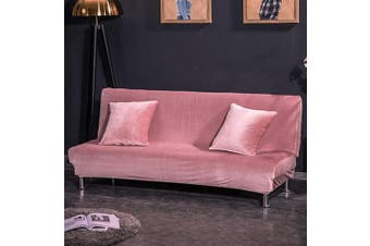 (Small Cover(120cm  - 150cm ), Pink) - CHITONE Armless Futon Cover Plush Thicker Folding Anti-Slip Sofa Bed Cover Sofa Protector Small Size,Pink