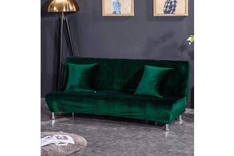 (Medium Cover(160cm  - 190cm ), Dark Green) - CHITONE Armless Futon Cover Plush Thicker Folding Anti-Slip Sofa Bed Cover Sofa Protector Medium Size,Dark Green