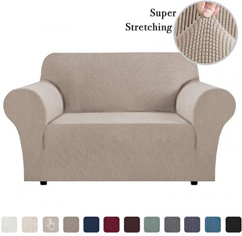 (Medium, Sand) - Sofa Slip Cover T Cushion for Leather Stretch Sofa Cover Furniture Covers for Moving Sofa Covers for 2 Cushion Couch Sofa Slipcovers Skid Proof Form Fitted Sofa Covers (Sand Loveseat) Size: MediumColour: Sand
