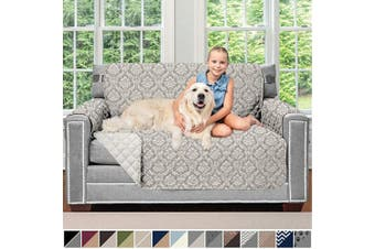 (140cm  Loveseat, Damask Latte/Ivory) - Sofa Shield Original Patent Pending Reversible Loveseat Protector for Seat Width up to 140cm , Furniture Slipcover, 5.1cm Strap, Couch Slip Cover Throw for Pets, Dogs, Love Seat, Damask Latte Ivory