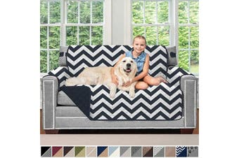 (140cm  Loveseat, Chevron: Navy/White) - Sofa Shield Original Patent Pending Reversible Loveseat Protector for Seat Width up to 140cm , Furniture Slipcover, 5.1cm Strap, Couch Slip Cover Throw for Pets, Dogs, Love Seat, Chevron Navy White