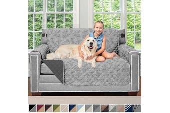 (140cm  Loveseat, Vintage Floral: Light Gray/Charcoal) - Sofa Shield Original Patent Pending Reversible Loveseat Protector for Seat Width up to 140cm , Furniture Slipcover, 5.1cm Strap, Slip Cover Throw for Pets, Love Seat, Vintage Floral Lt Grey Charcoal