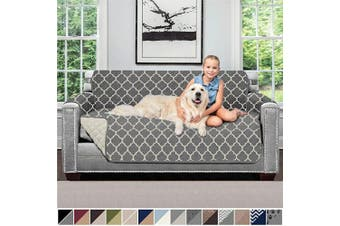 (140cm  Loveseat, Quatrefoil: Charcoal/Linen) - Sofa Shield Original Patent Pending Reversible Loveseat Protector for Seat Width up to 140cm , Furniture Slipcover, 5.1cm Strap, Couch Slip Cover Throw for Pets, Love Seat, Quatrefoil Charcoal Linen
