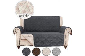 (140cm  Loveseat, Darkgrey) - RHF Anti-Slip Loveseat Covers for Leather Sofa, Couch Cover, Loveseat Cover for Living Room, Slipcover & Love Seat Couch Covers, Slip-Resistant Couch Cover for Leather Sofa (Loveseat: Dark Grey)