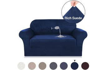 (Navy Blue) - Turquoize Navy Couch Slipcover for Loveseat, Velvet Plush Couch Cover, Water Repellent High Spandex Slipcover for 2 Seater Sofa Cover, Foam Fit Stretch, Strapless Furniture Cover (Loveseat, Navy)