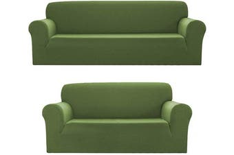 (2pc (Sofa, Loveseat), Green/Sage) - Bedding Haus 2pc Couch Slip Cover Set (Sofa, Loveseat), Stretch Form-fit, Furniture Protector, Plaid Pattern, Premium Polyester/Spandex, Daisy, 2pc Sage/Green